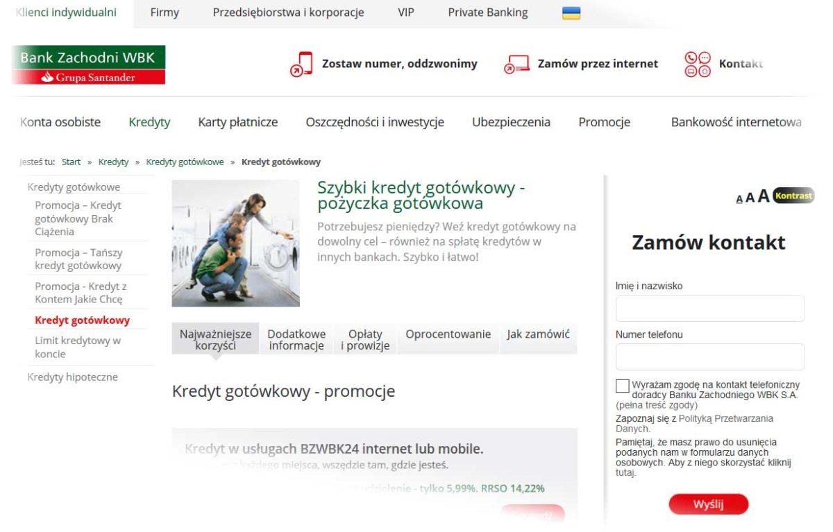 Kredyt gotówkowy BZ WBK